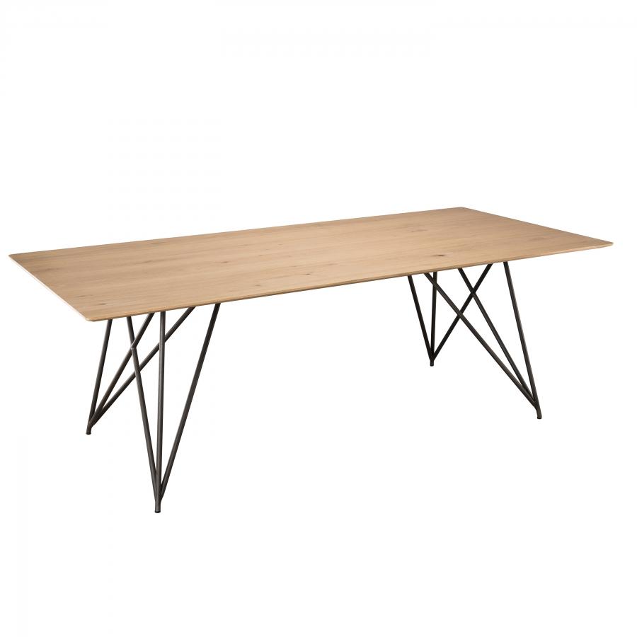 Table à manger bois chêne pieds croisés métal