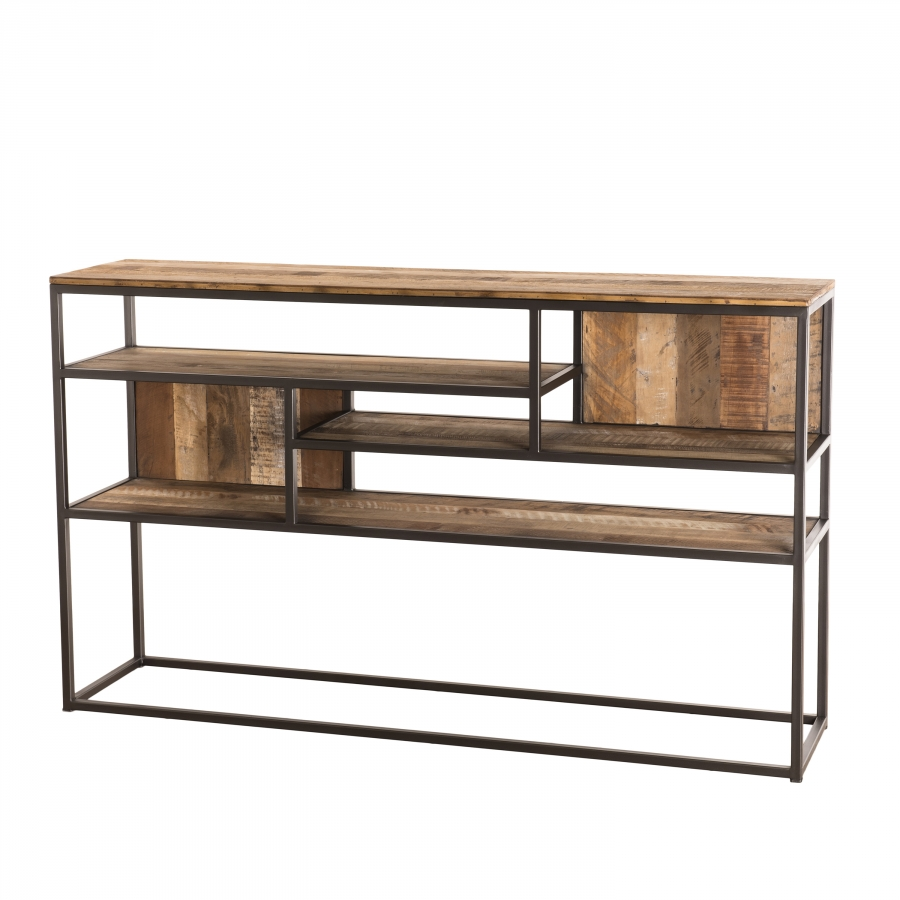 Console 4 niveaux bois teck recyclé acacia mahogany métal