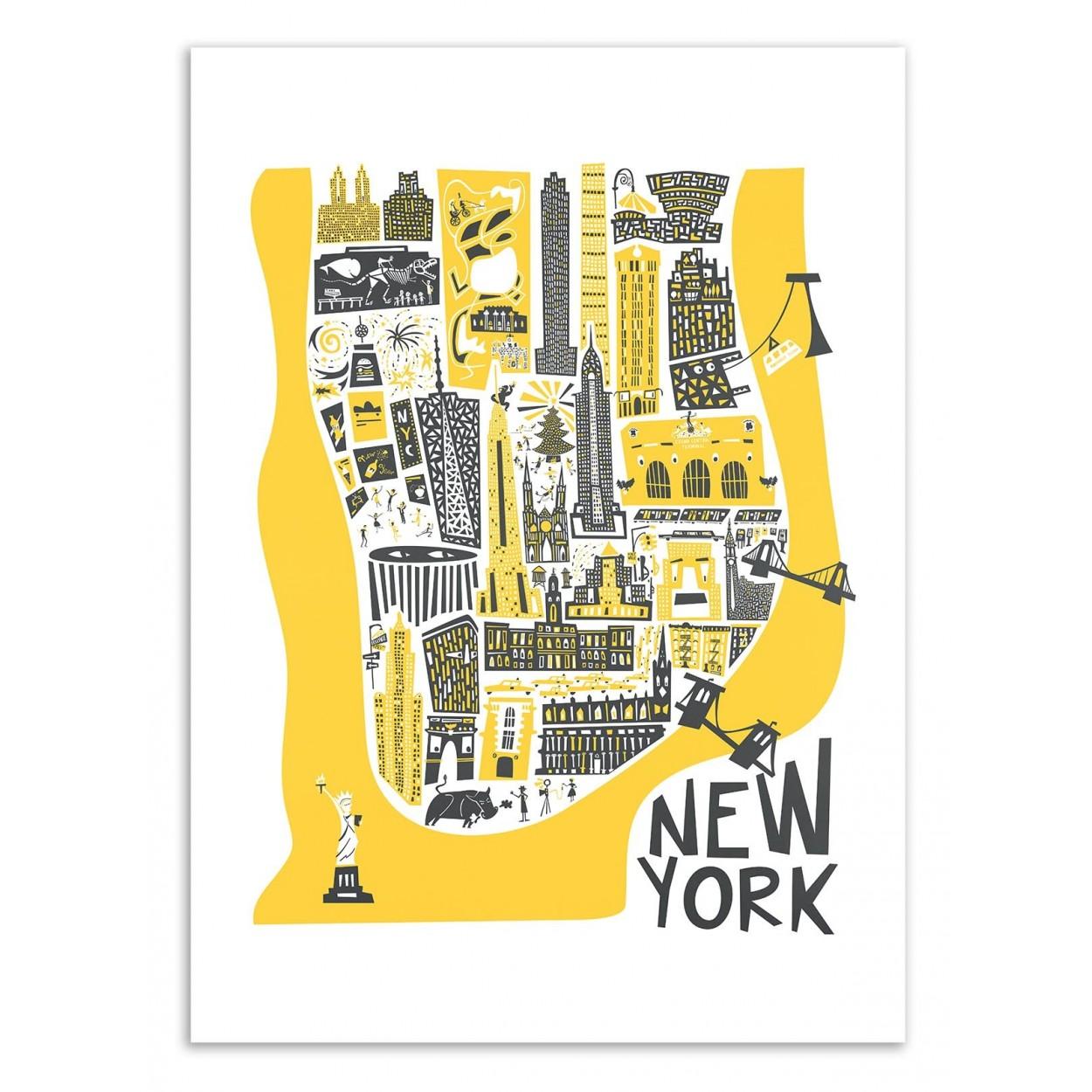 NEW-YORK MAP -  Affiche d'art 50 x 70 cm
