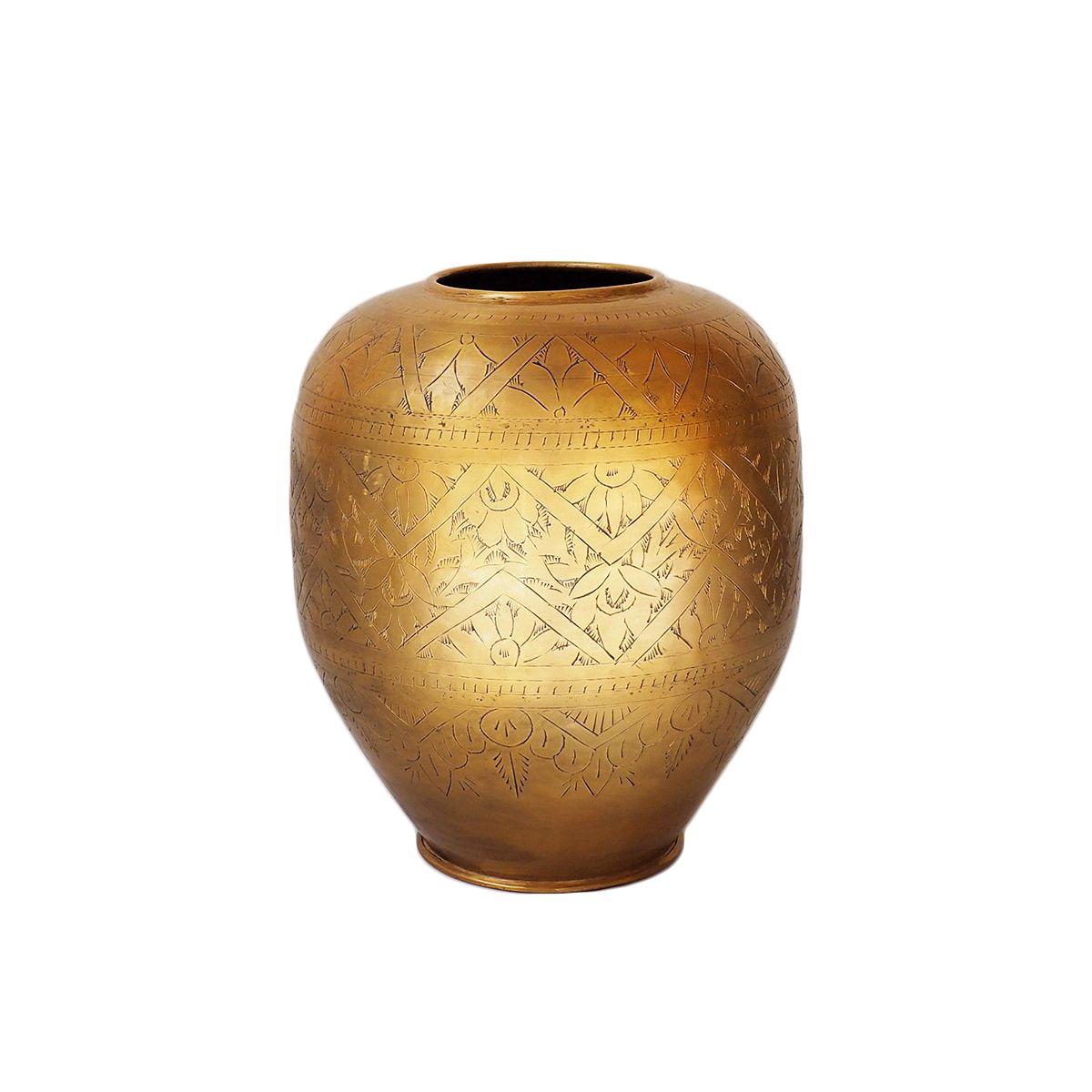 Vase avec motifs gravés  doré