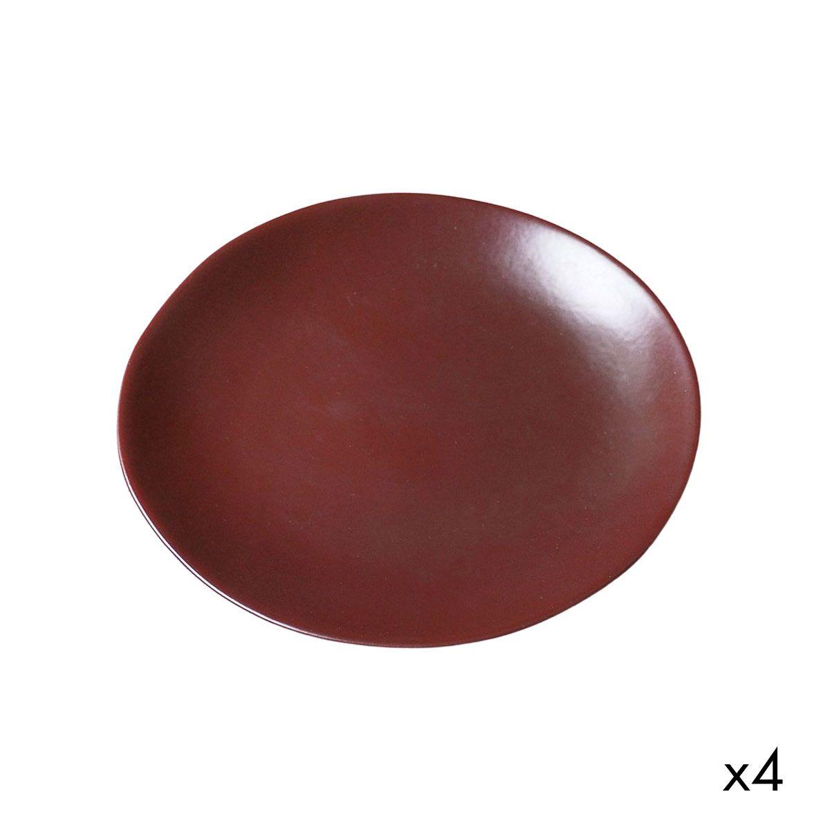 Lot de 4 assiette à dessert en céramique rouge D22