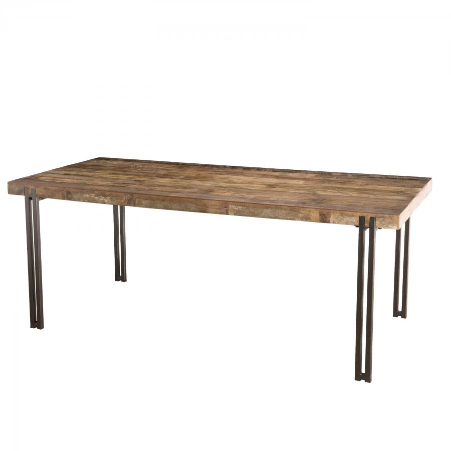 Table à manger bois teck recyclé acacia mahogany pieds métal