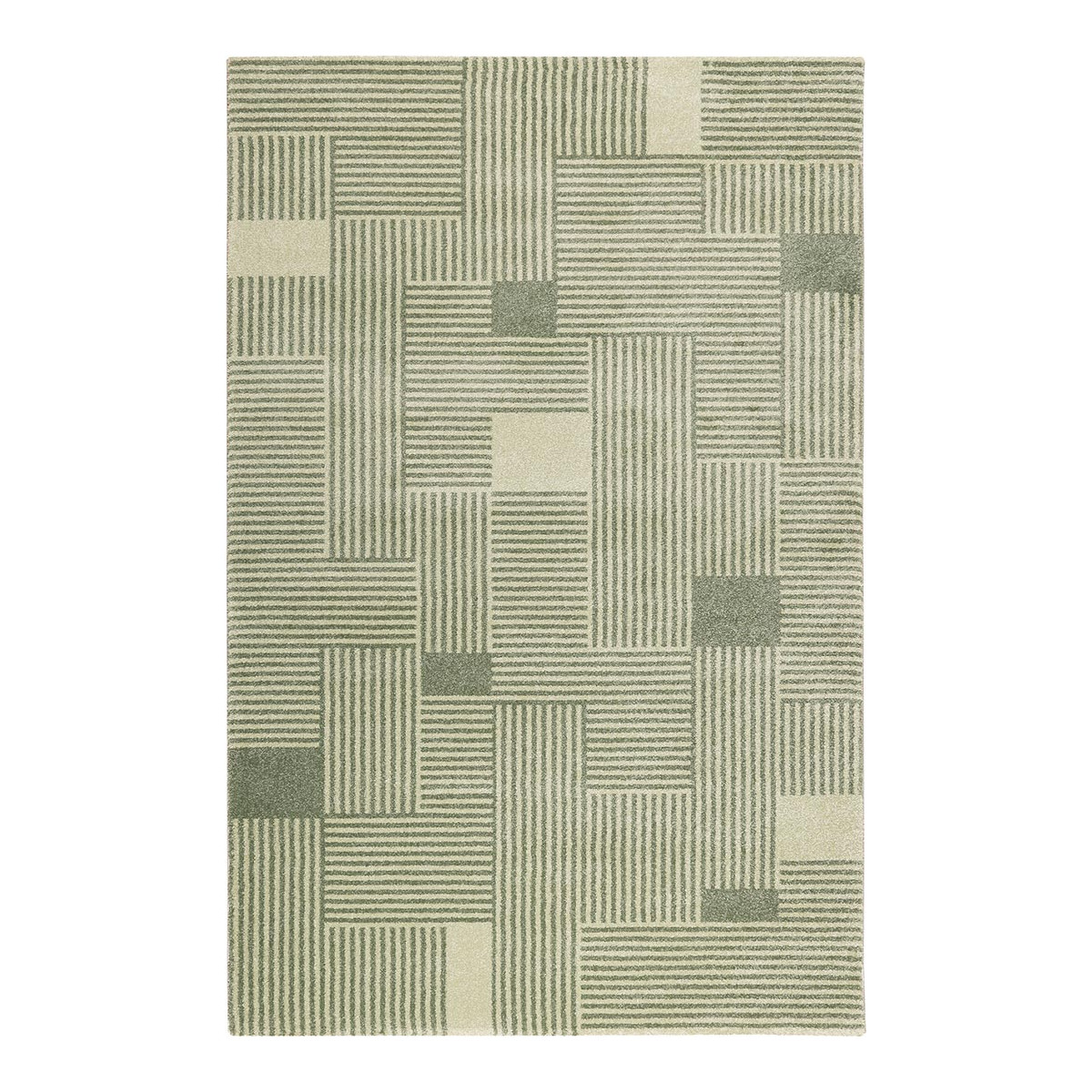 Tapis géométrique design en polypropylène vert 80x150