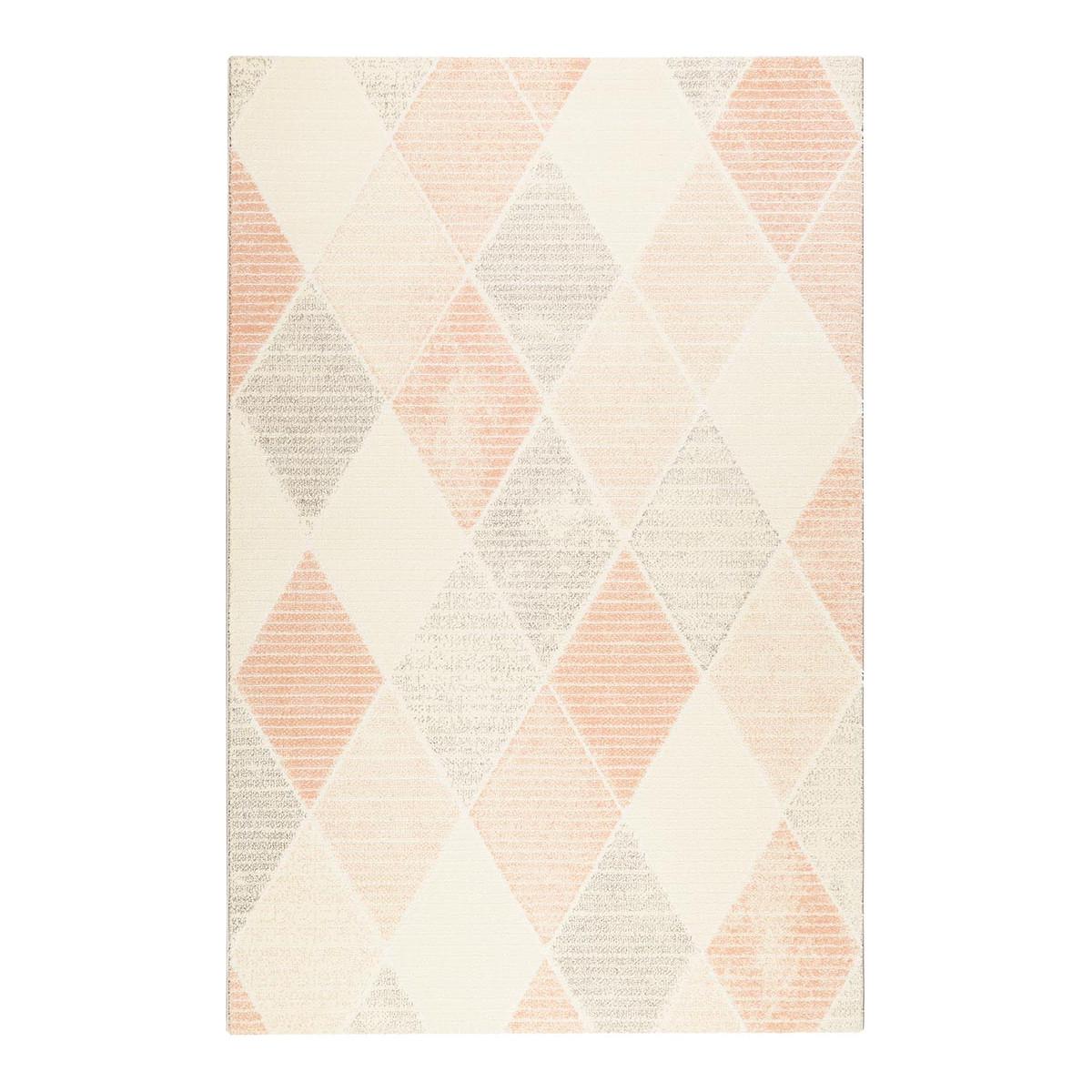 Tapis géométrique design en polyester rose 133x200