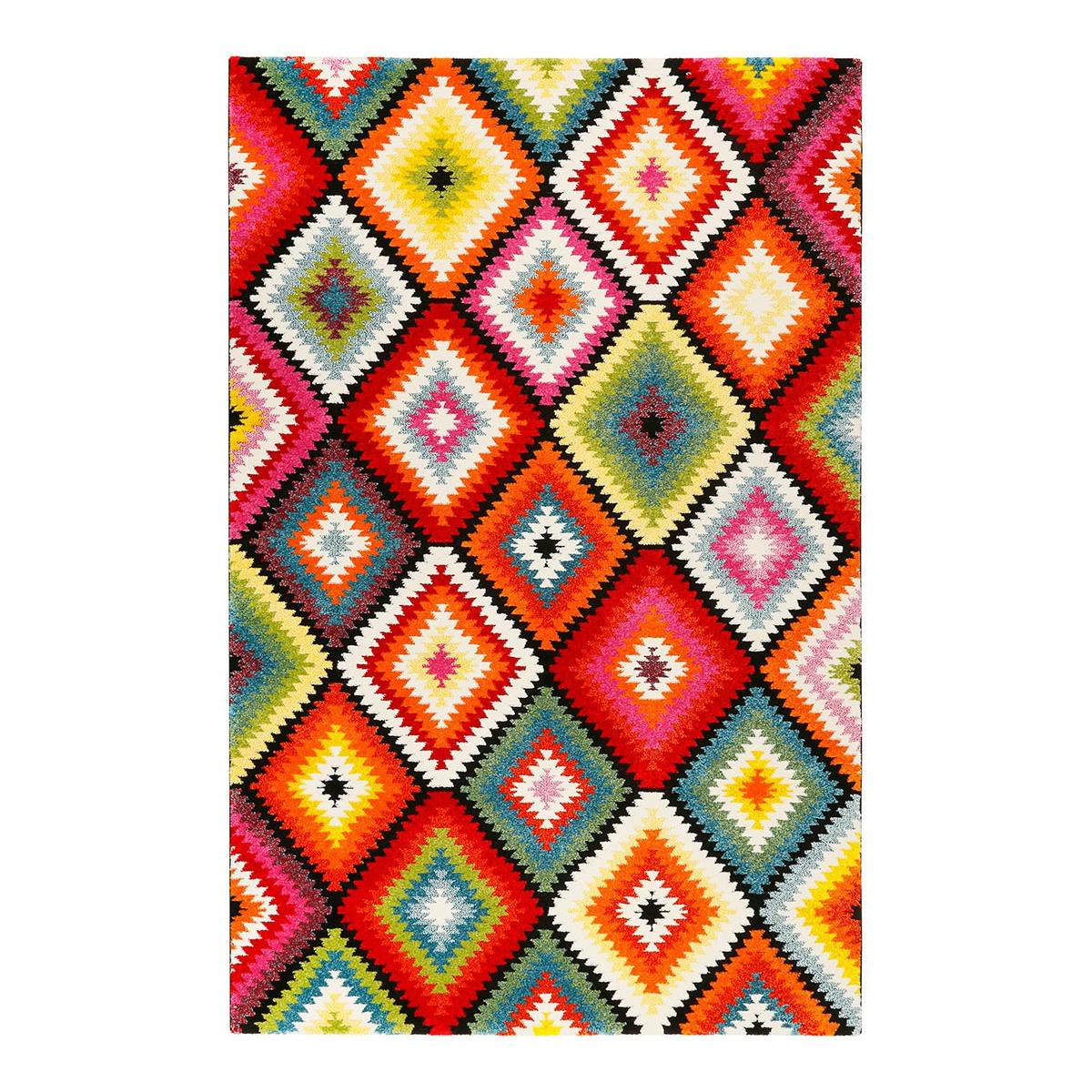 Tapis géométrique design en polyester multicolore 80x150