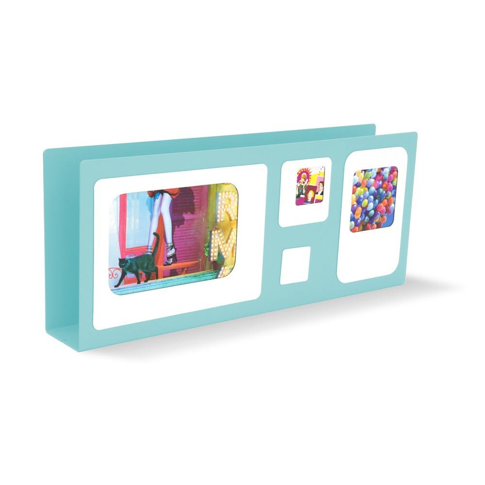 Porte lettres cadre photo métal bleu ciel