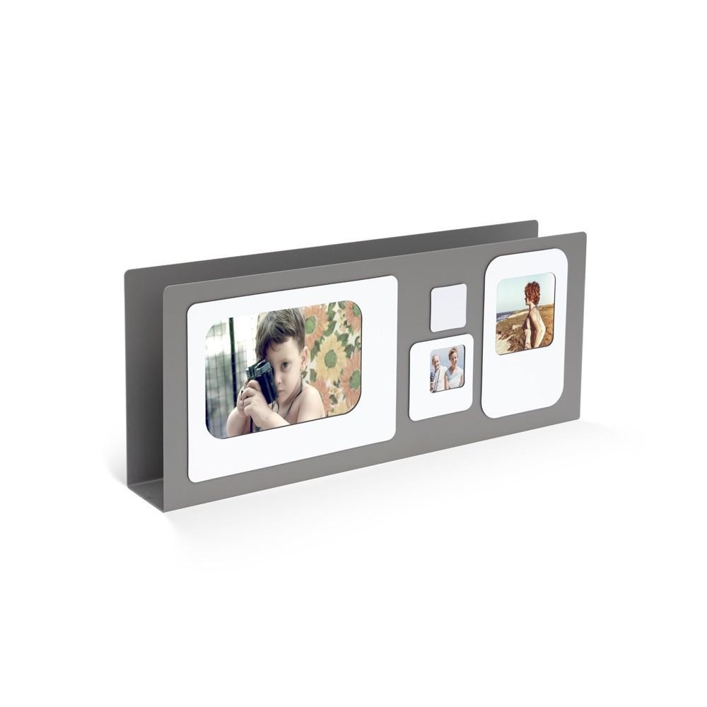 Porte lettres cadre photo métal gris