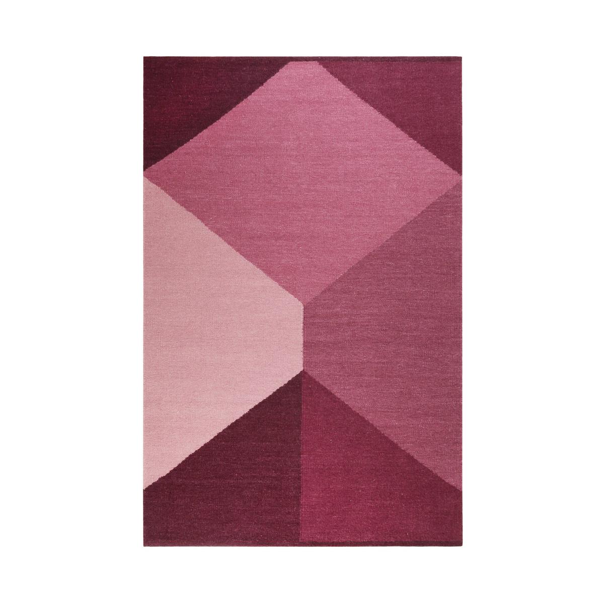 Tapis géométrique scandinave en laine rouge 160x230
