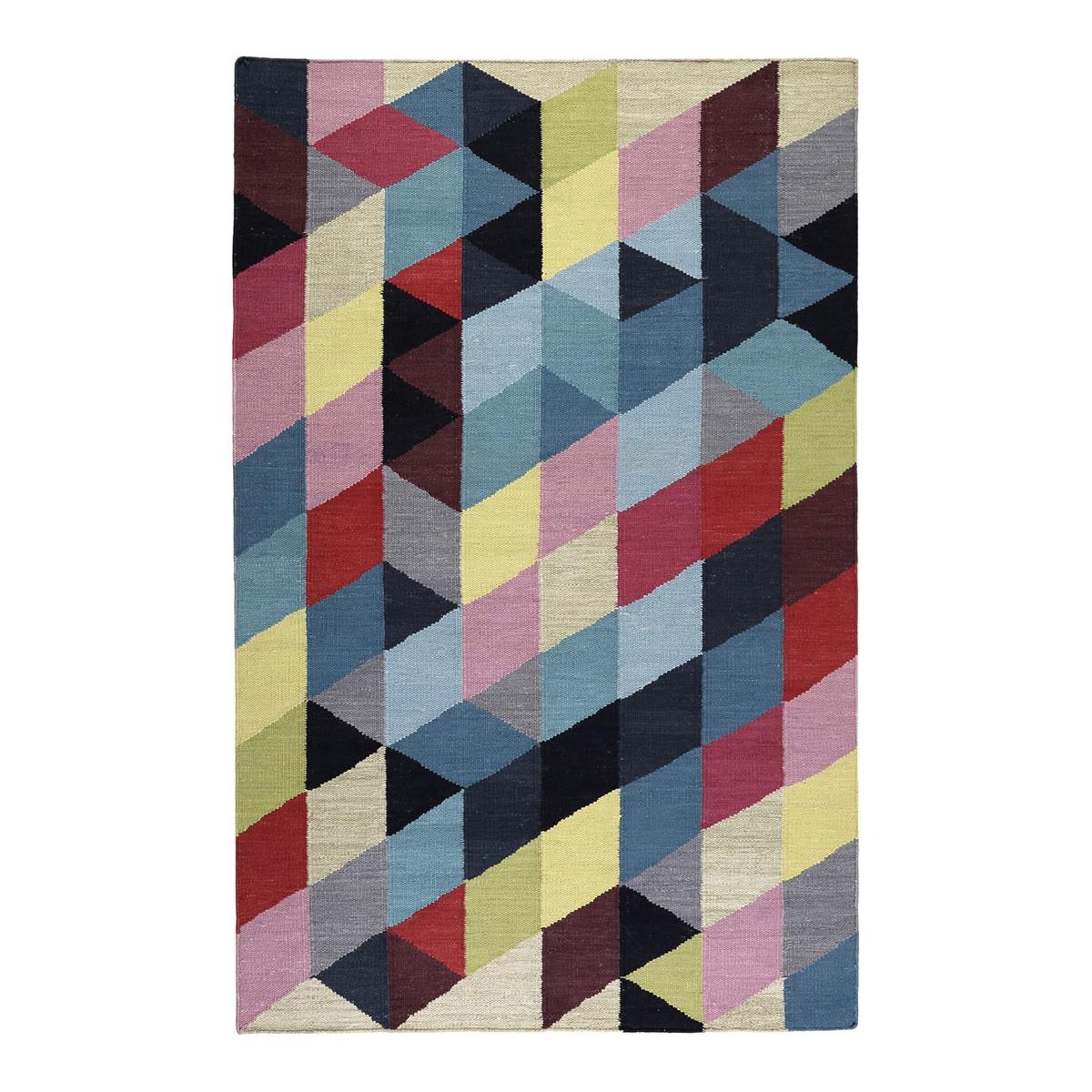 Tapis géométrique naturel en coton multicolore 80x150