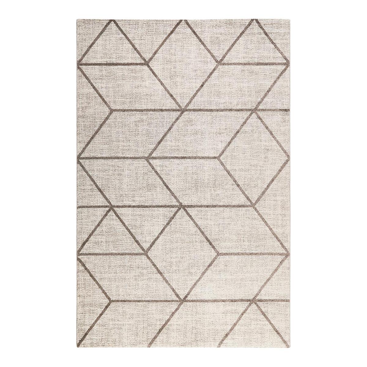 Tapis géométrique design en polypropylène taupe 80x150