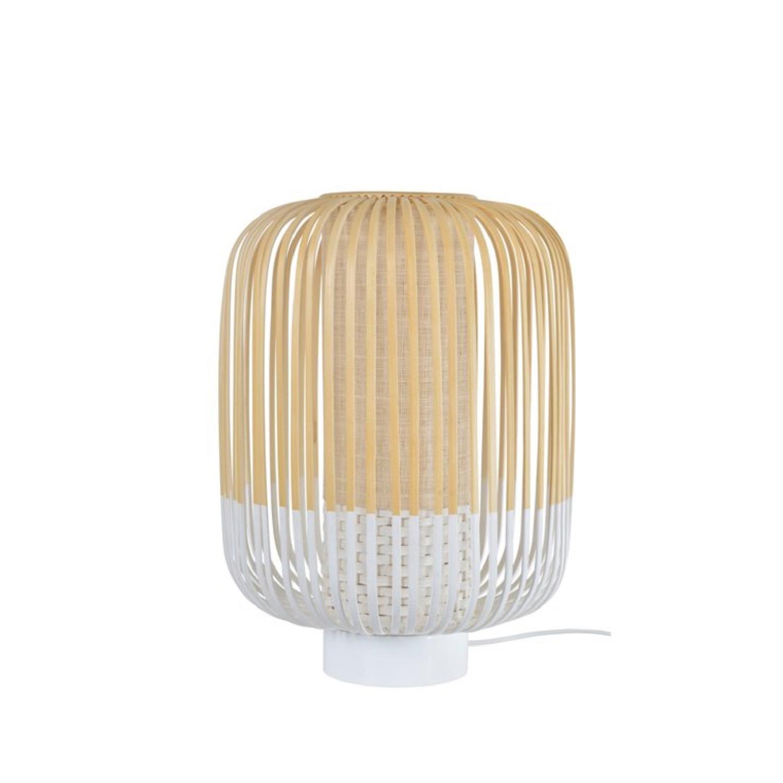 Lampe à poser bambou blanc H39cm