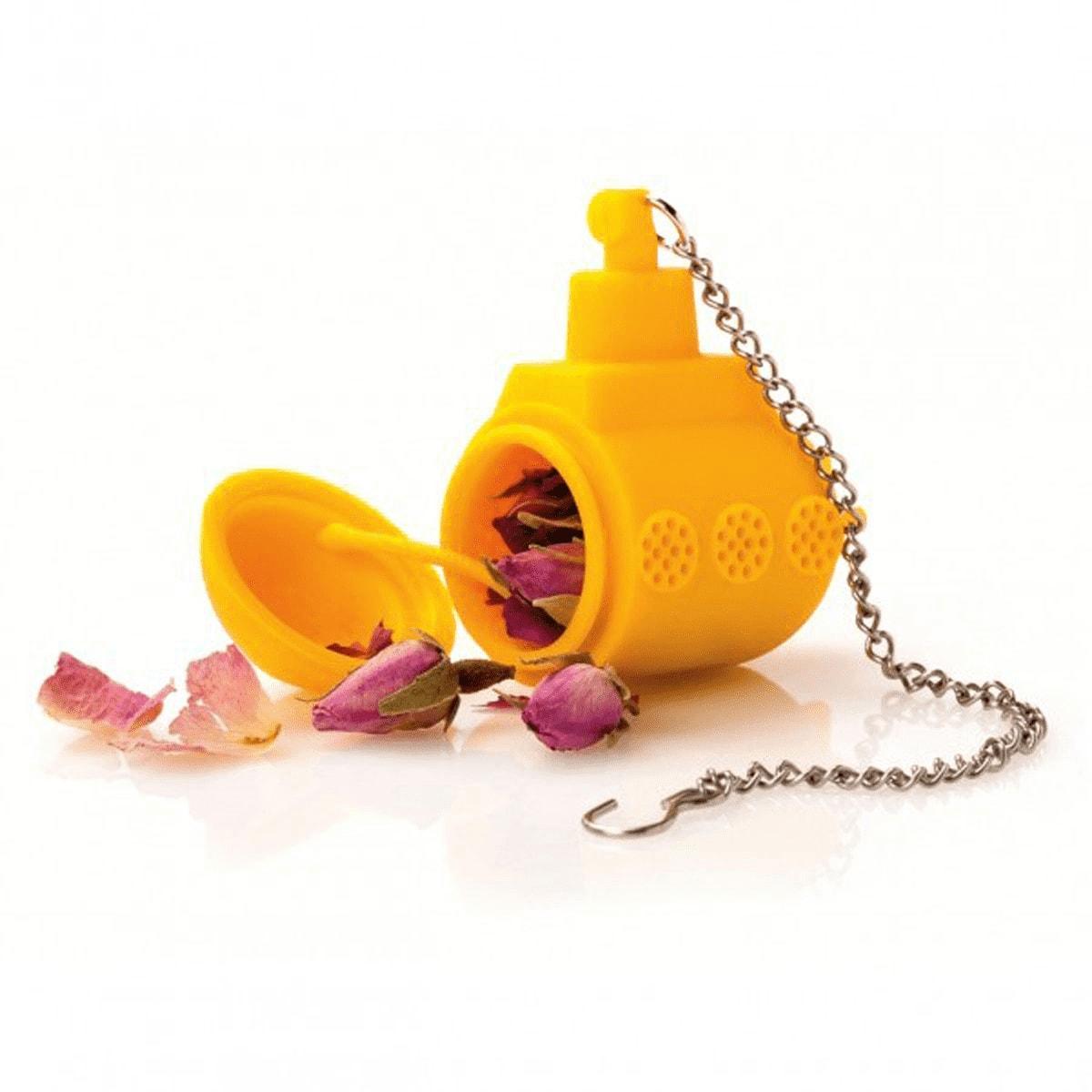 Boule à thé en silicone jaune sous marin