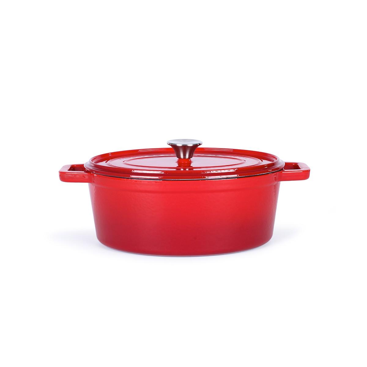 Cocotte ovale en émail rouge