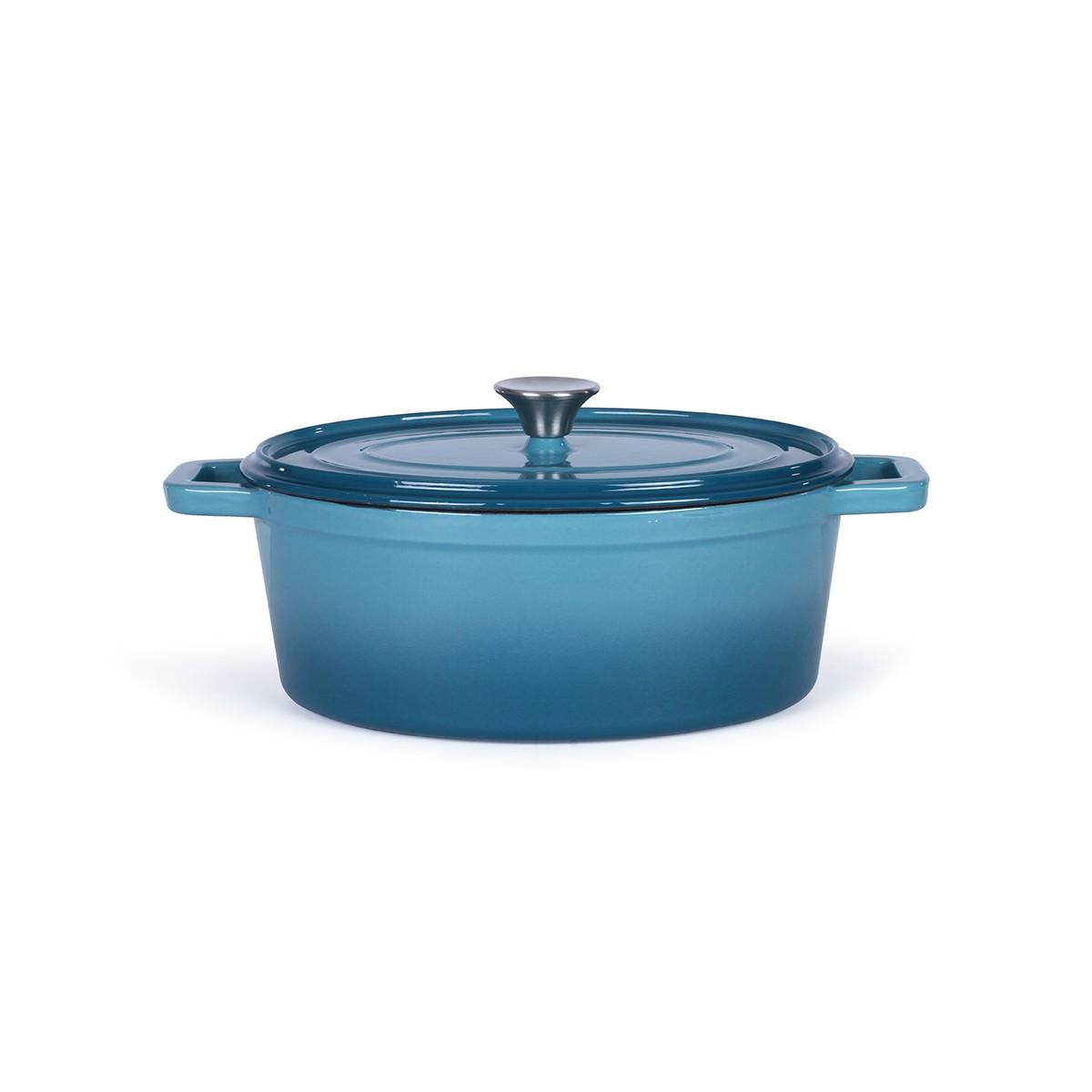 Cocotte ovale en émail bleu