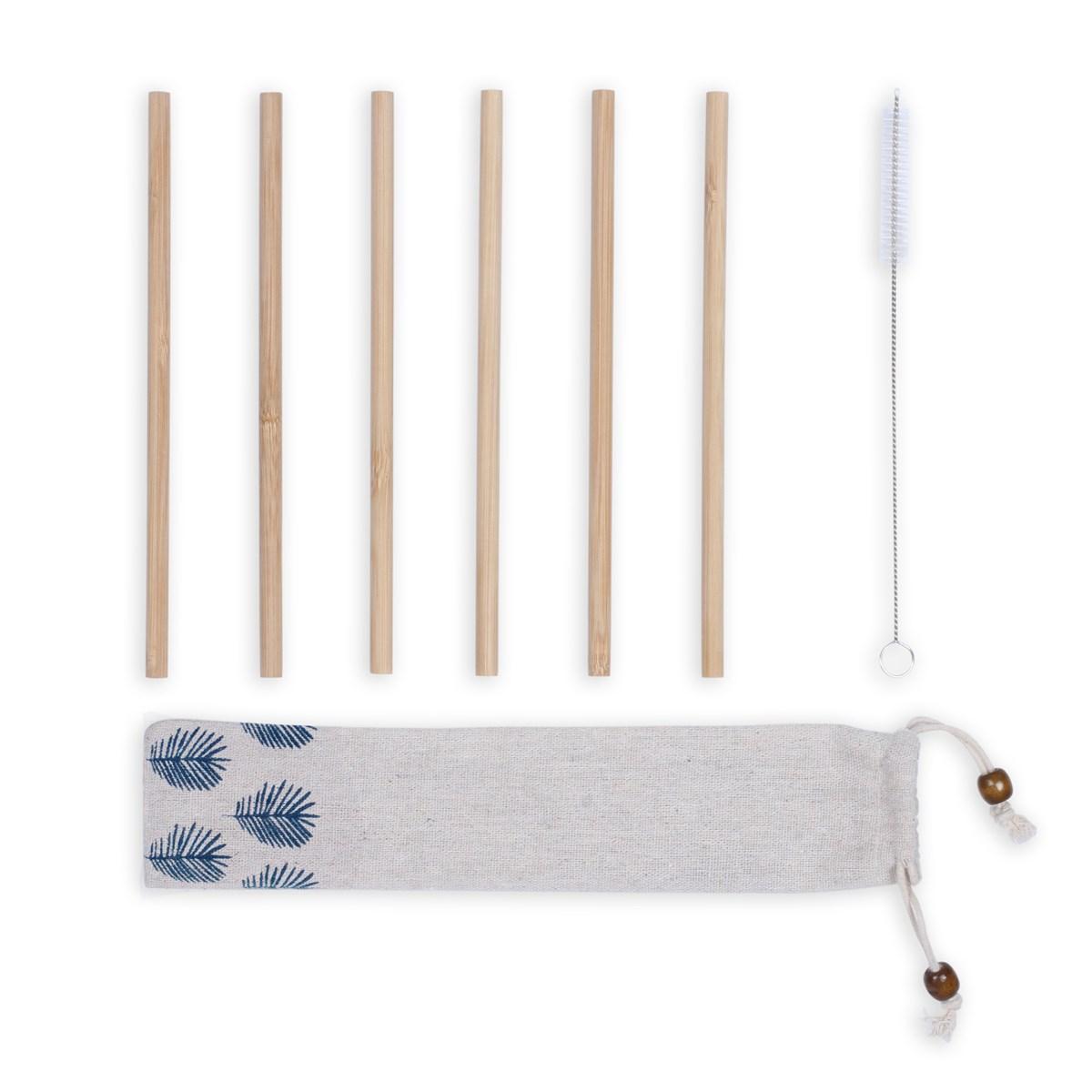 Set de 6 pailles en bambou beige