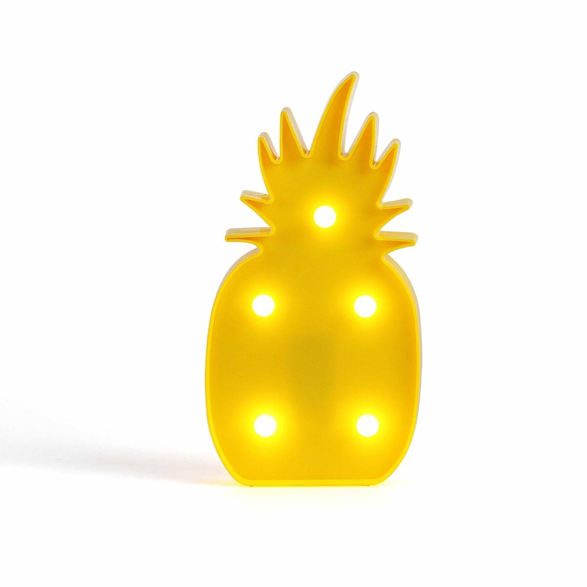 Lampe LED ananas en plastique jaune