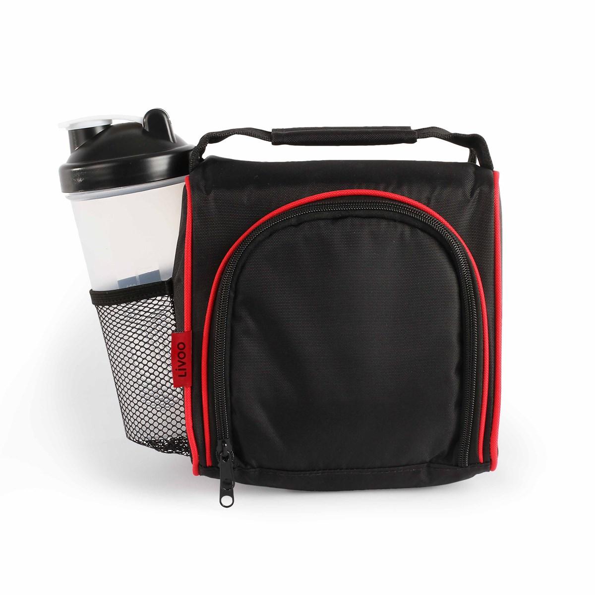Set lunch box en polyester rouge