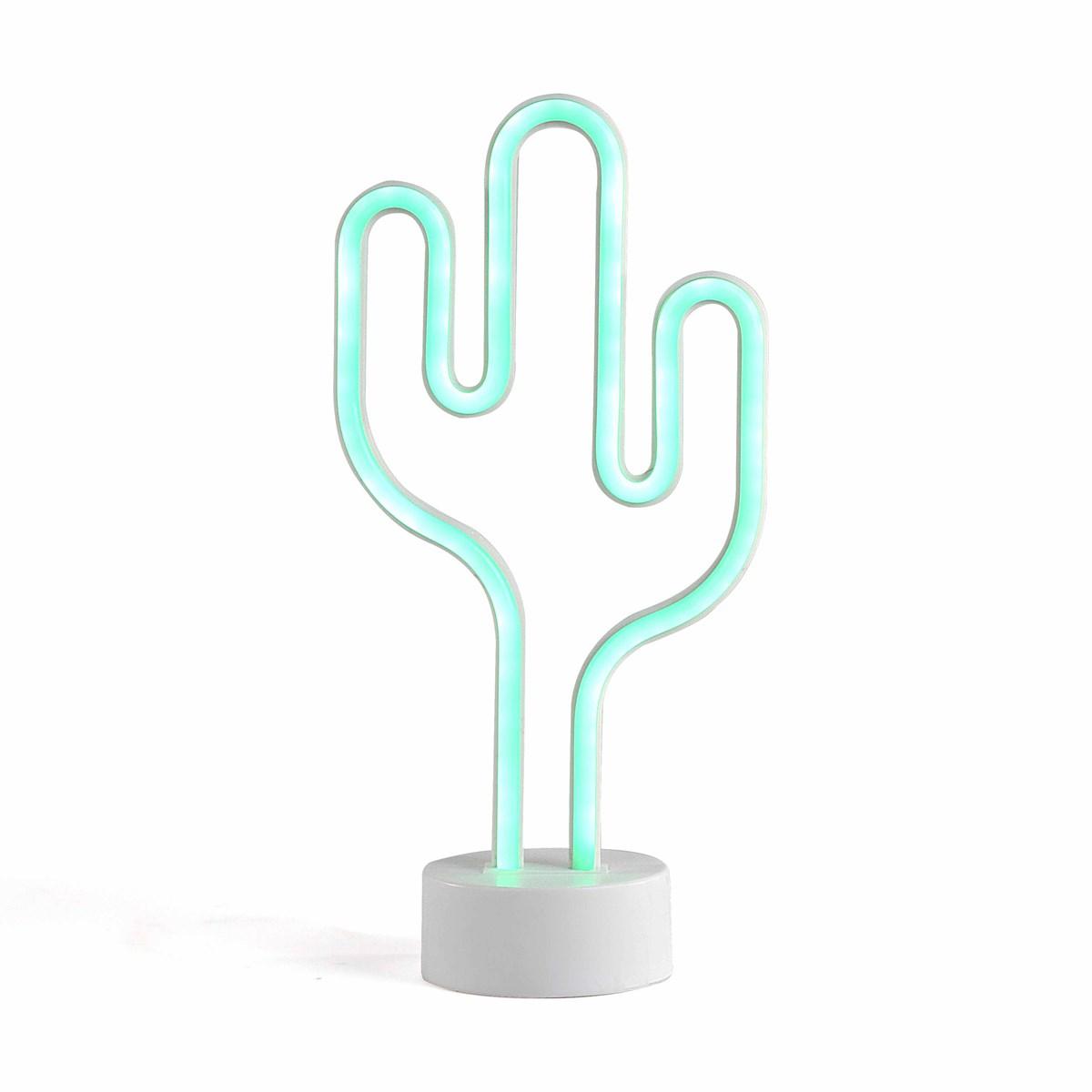 Lampe neon cactus en plastique blanc