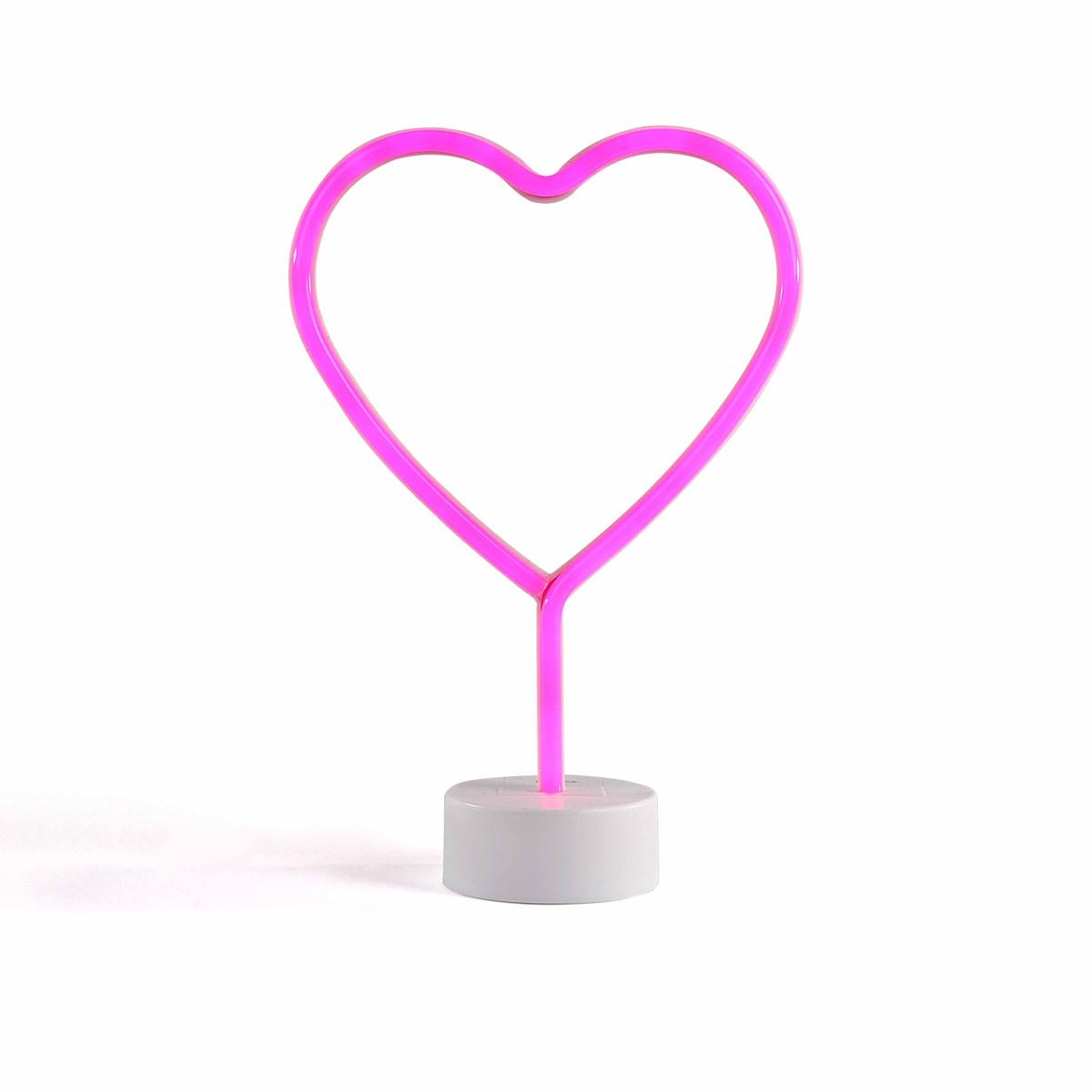 Lampe neon coeur en plastique blanc