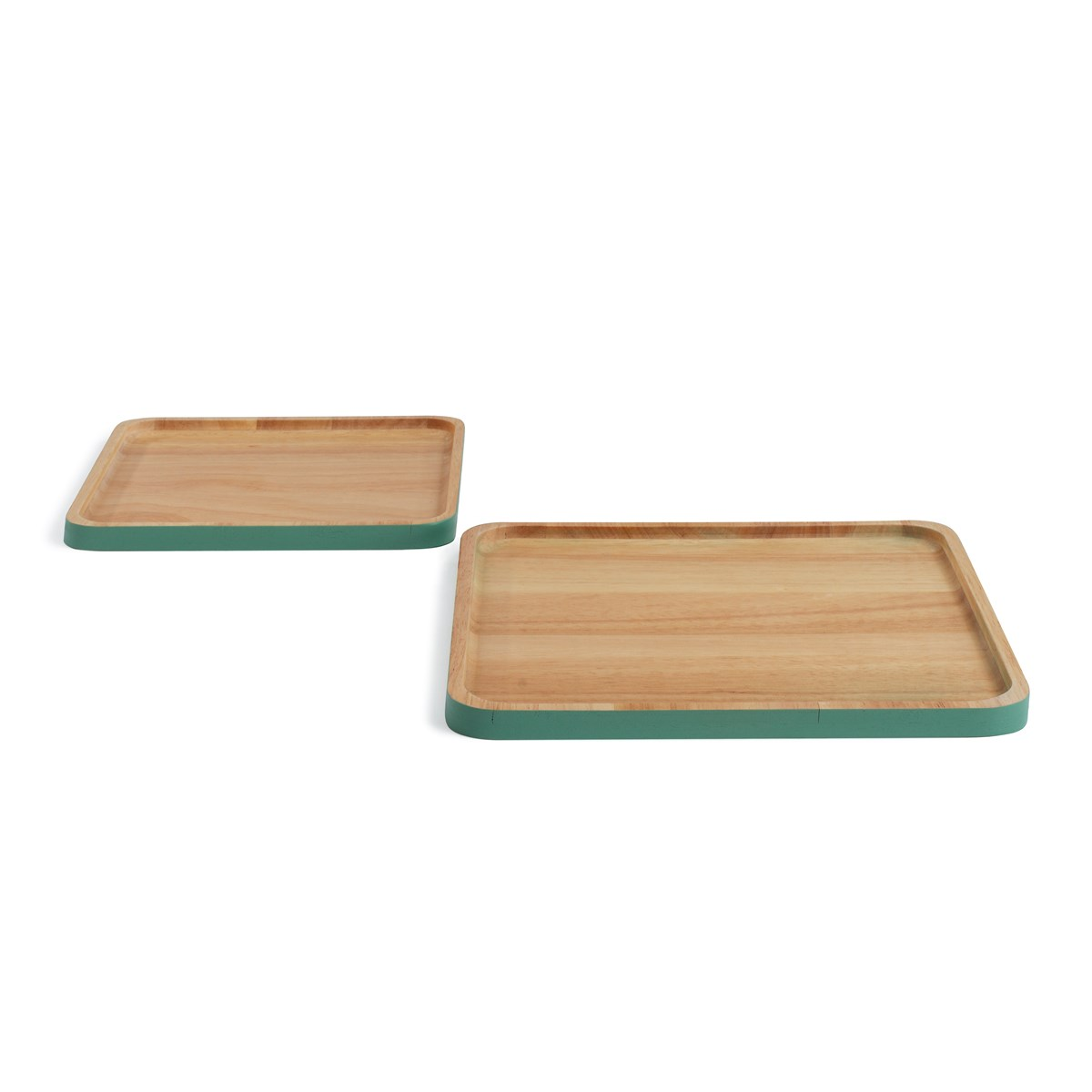 Set de 2 plateaux en bois beige