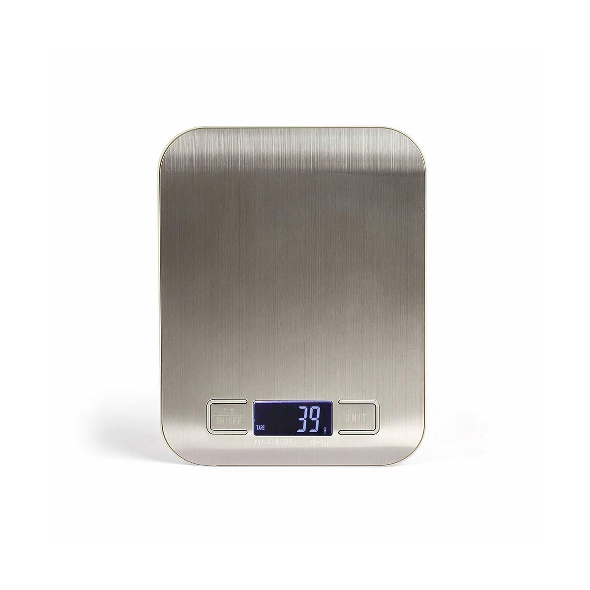 Balance de cuisine électronique en acier inoxydable gris