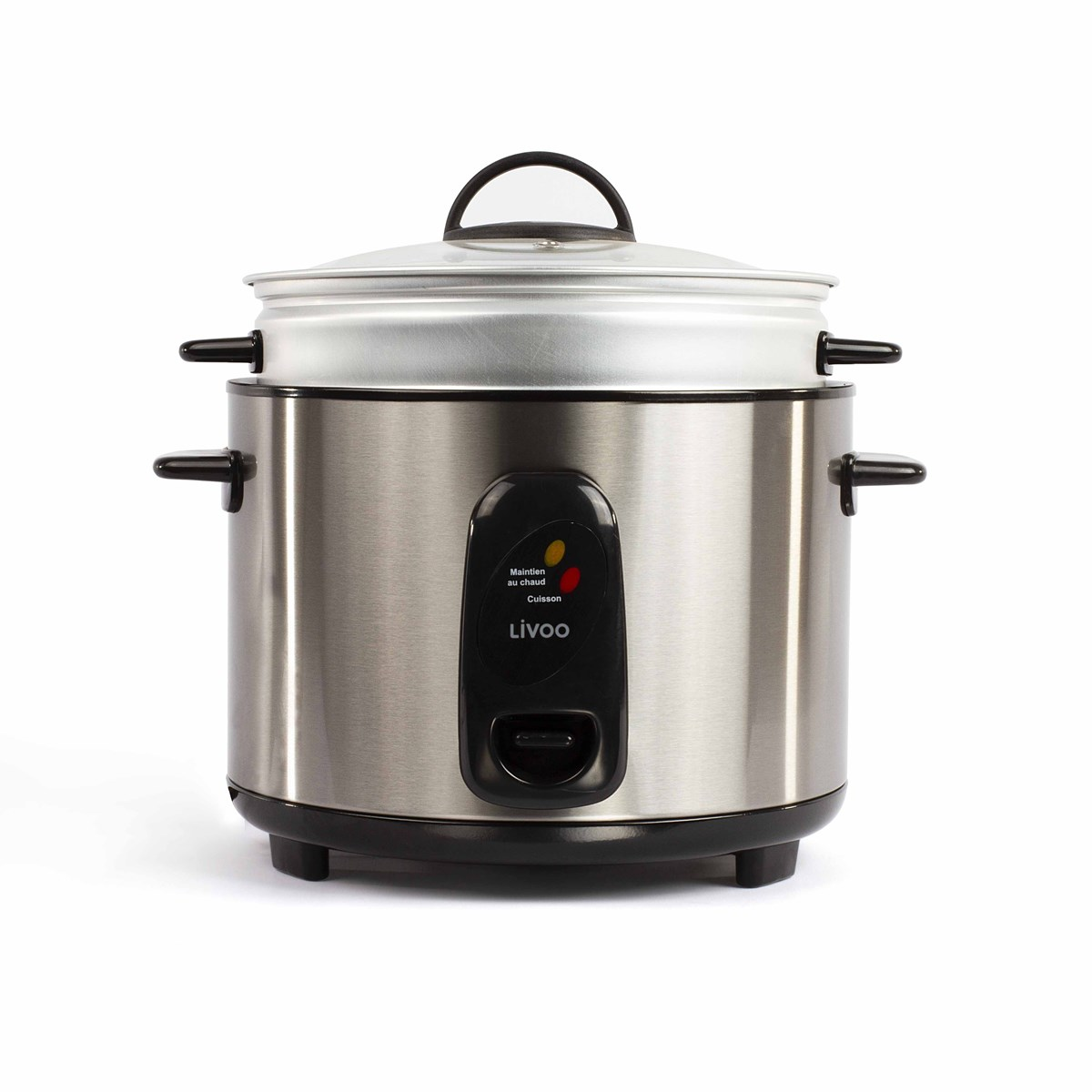 Cuiseur à riz et vapeur acier inoxydable en acier inoxydable gris