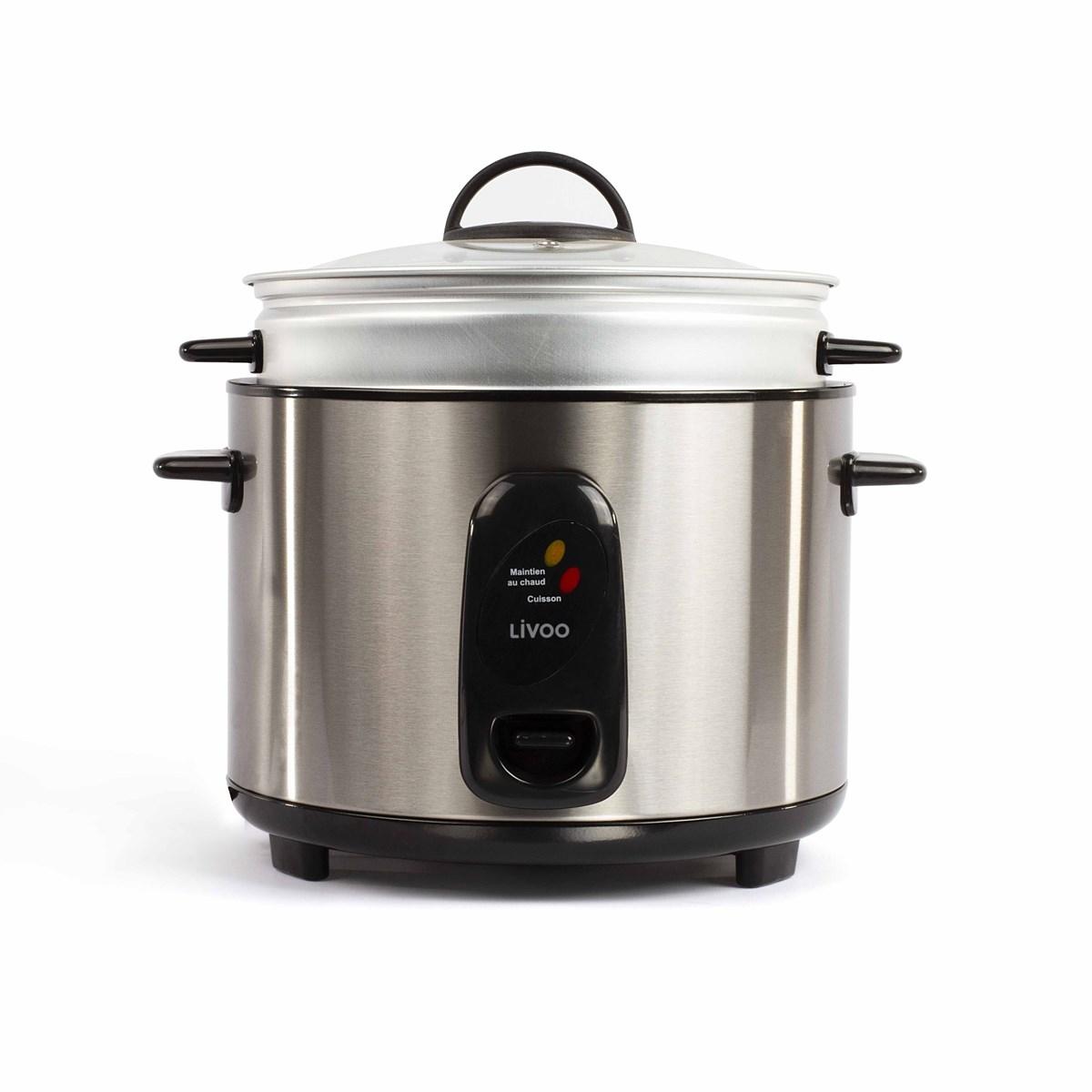 Livoo Cuiseur à riz et vapeur 2,8L en Acier inoxydable Gris