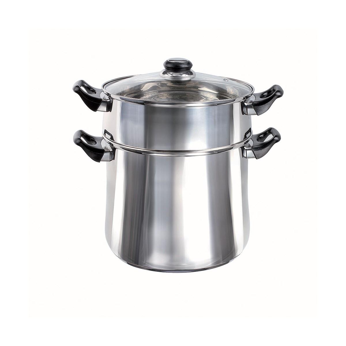 Couscoussier en acier inoxydable gris