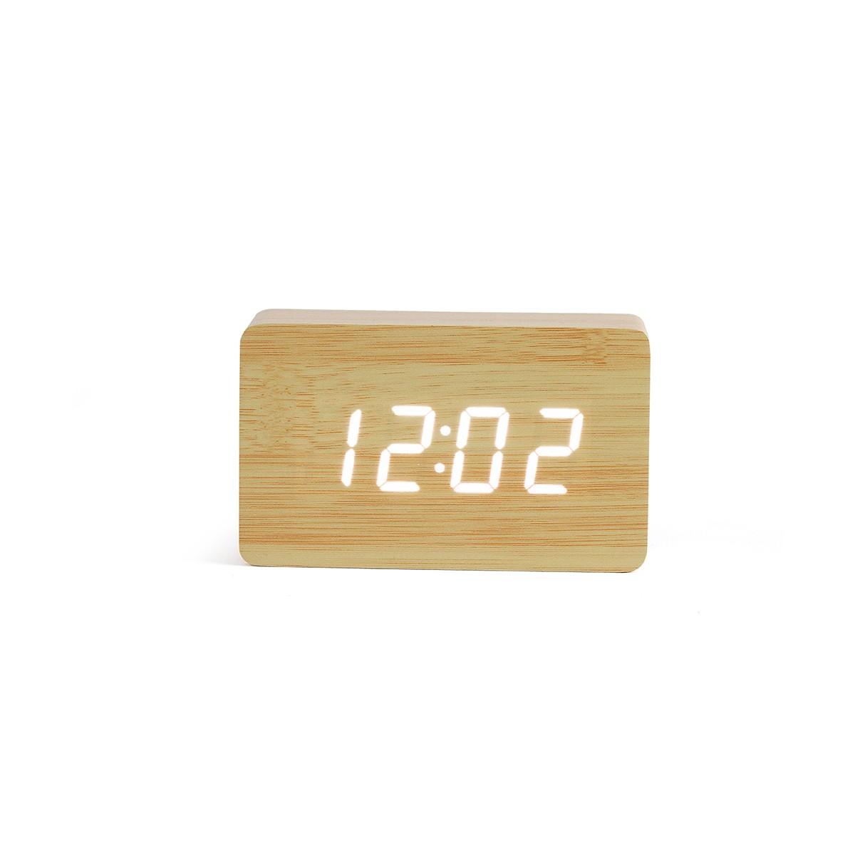 Horloge digitale aspect bois clair en plastique beige