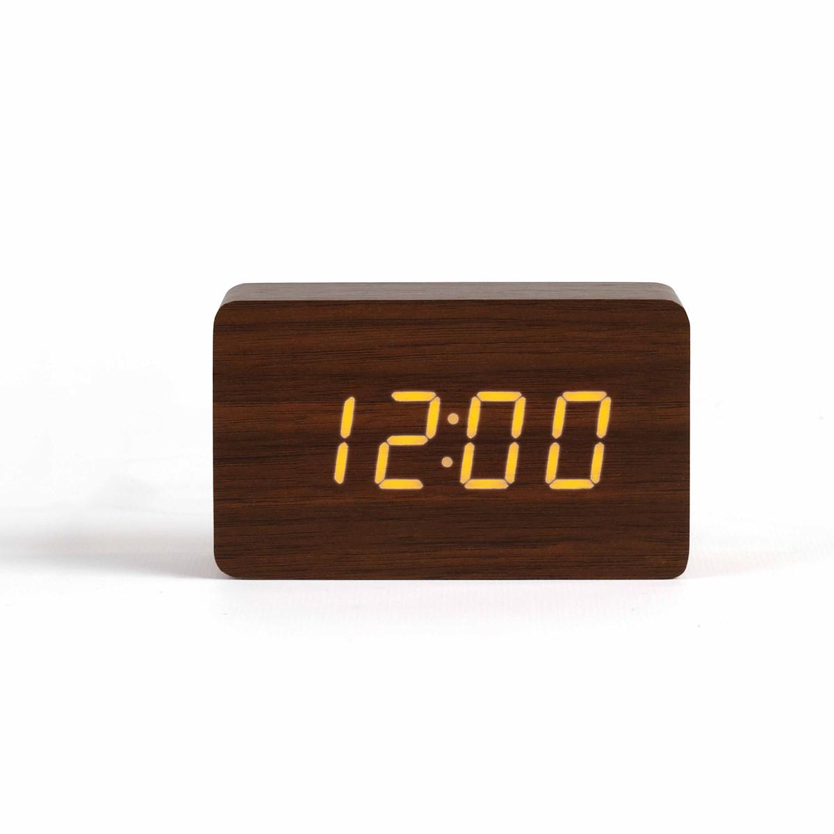 Horloge digitale aspect bois clair en plastique marron