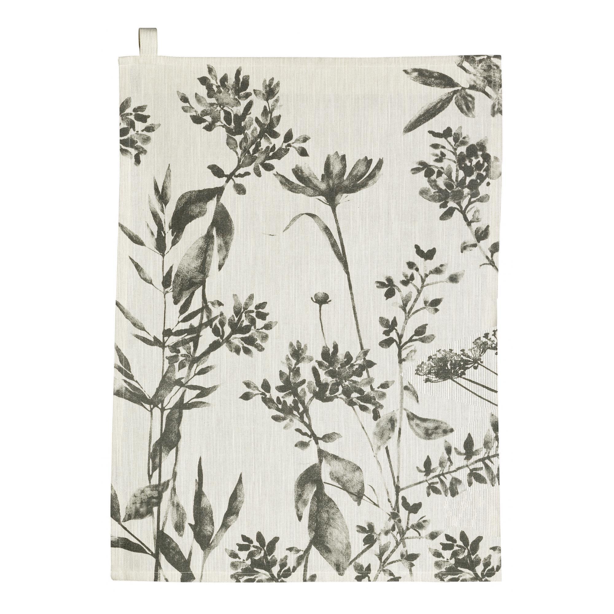 Torchon Fleuri  en coton ombre 50 x 70