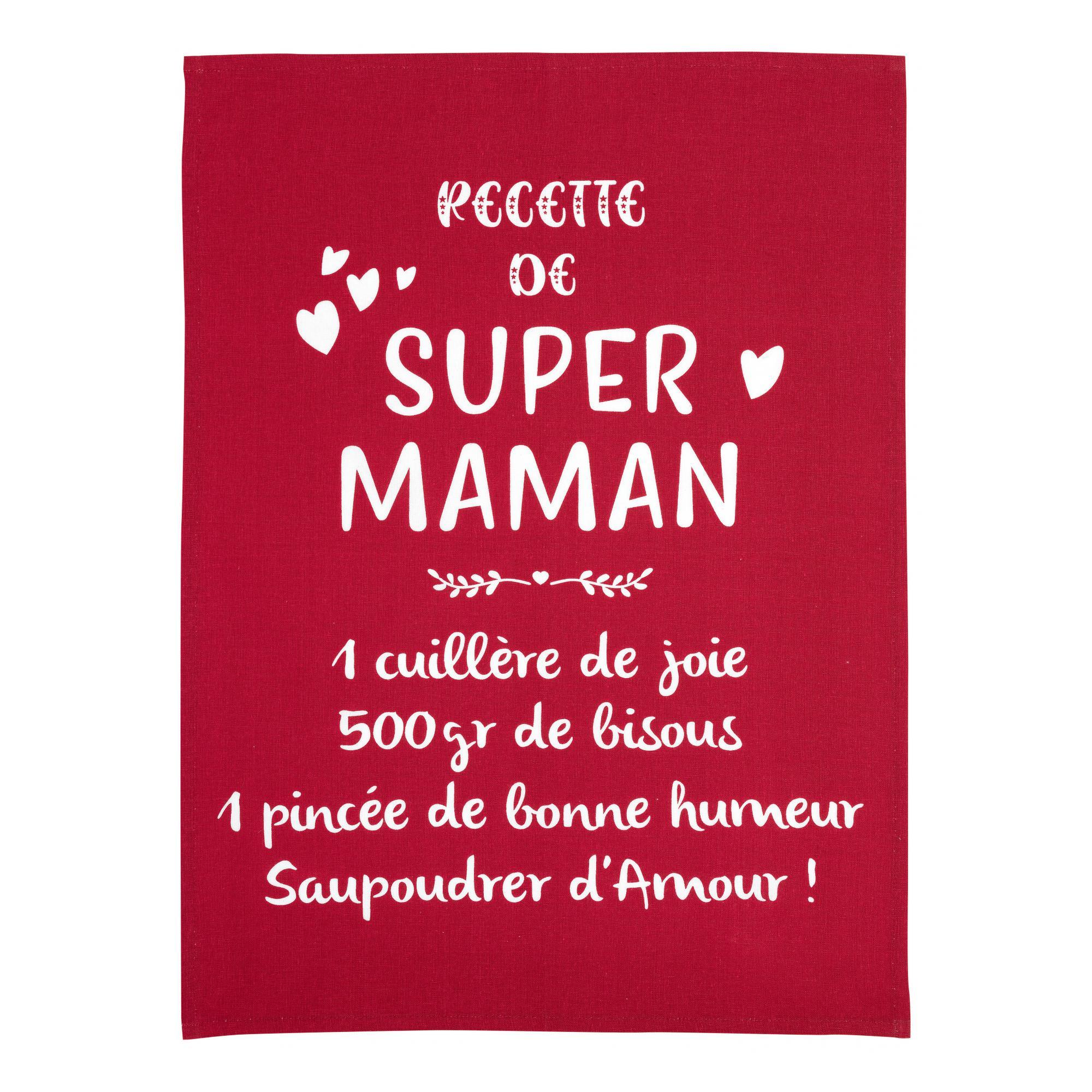 Torchon message super maman en coton rouge 50 x 70