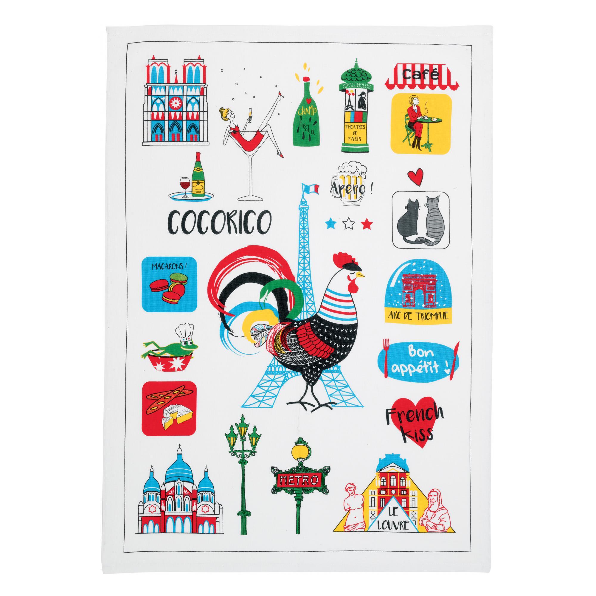 Torchon France Emoticônes en coton ecru 70 x 50