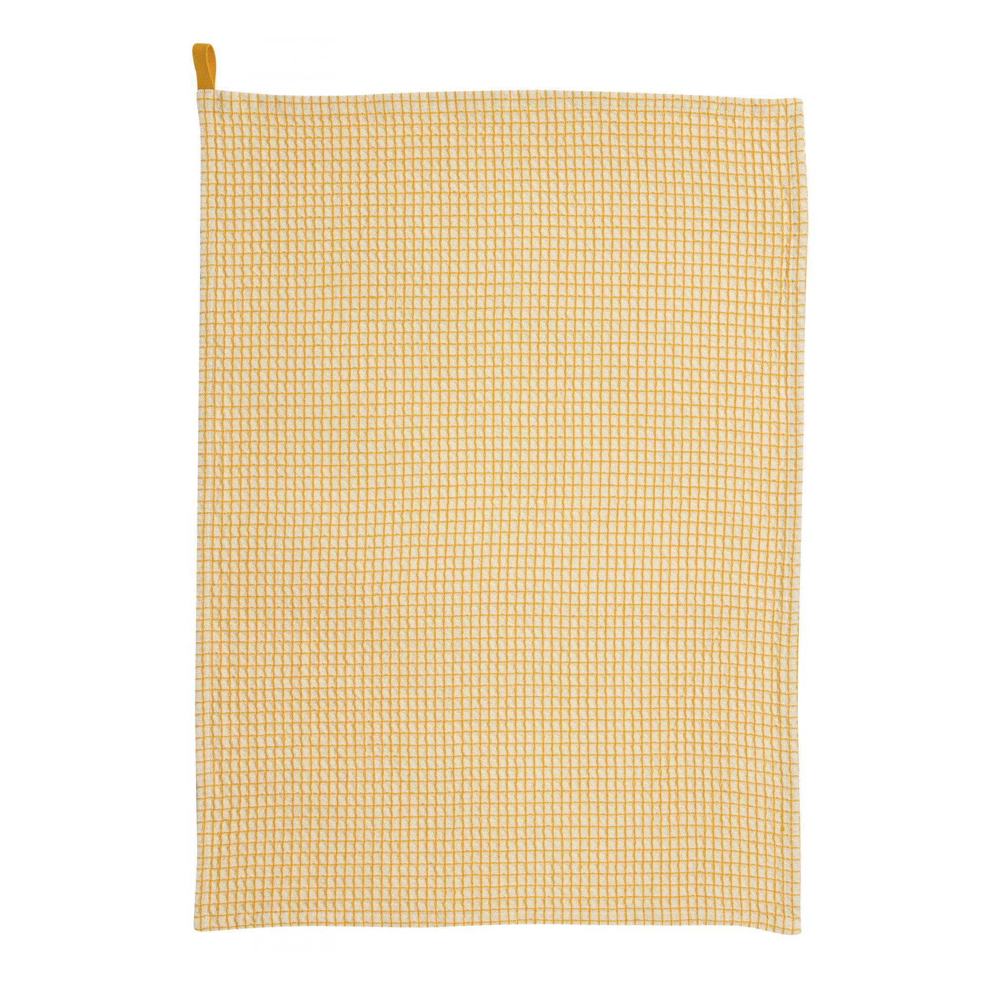 Torchon nid d'abeilles  en coton tournesol 50 x 70