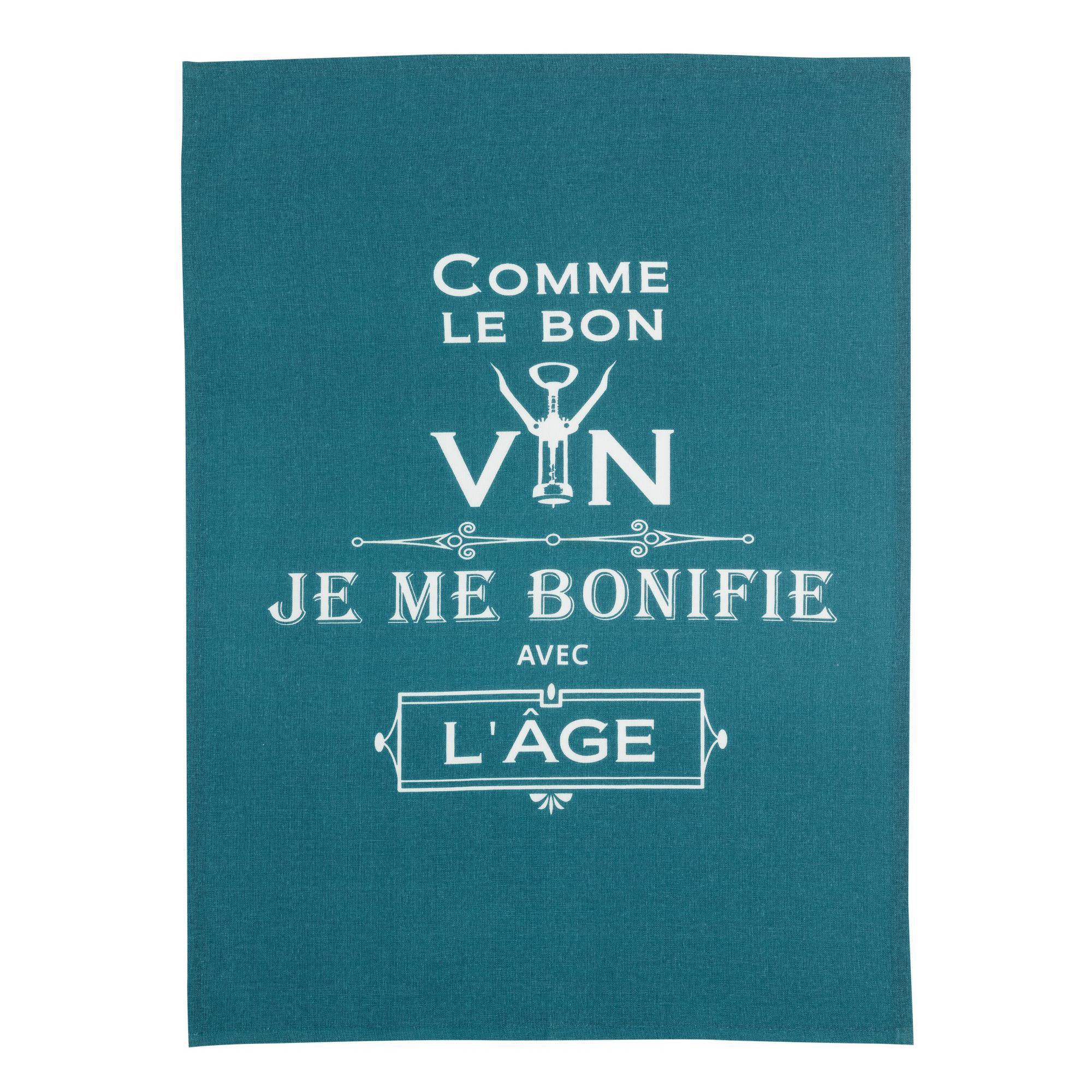 Torchon message comme le bon vin en coton paon 70 x 50