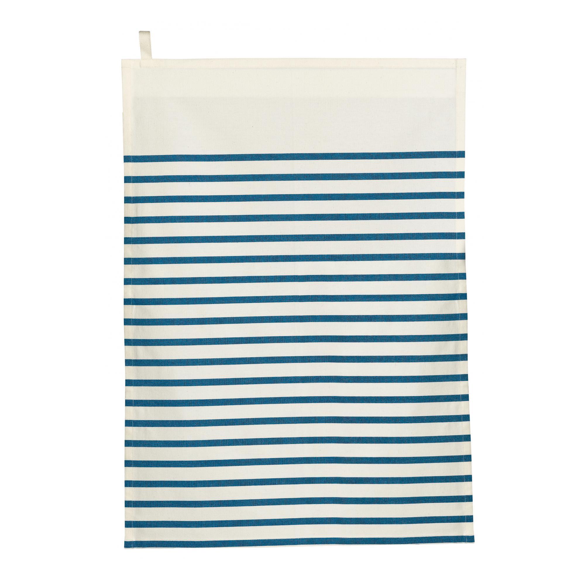 Torchon en coton ivoire/bleu 50 x 70