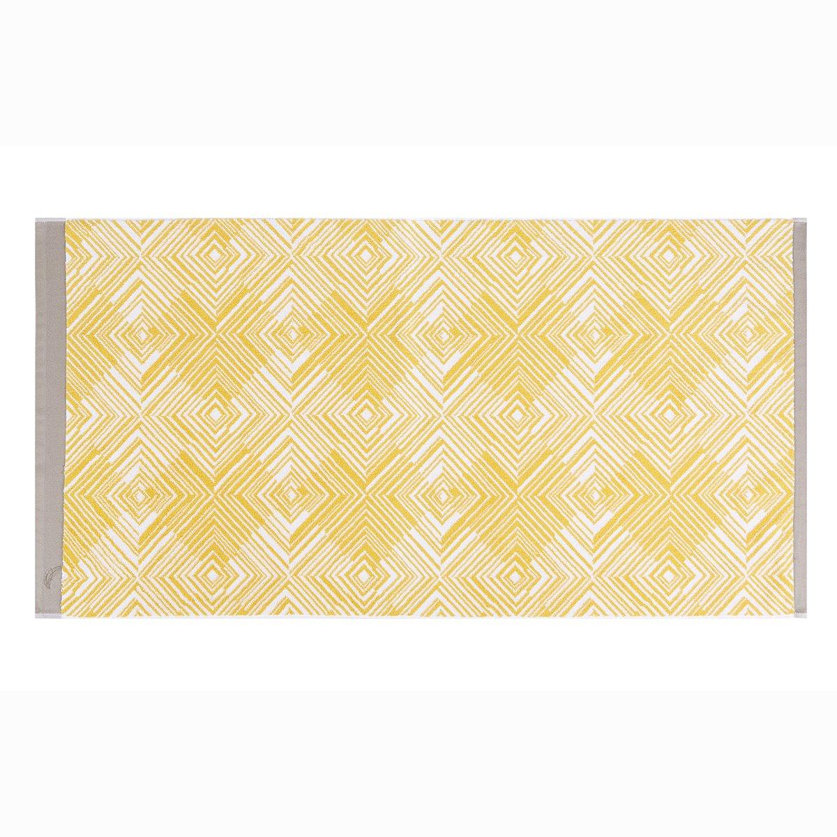 Drap de douche coton 70x140 cm jaune imprimé