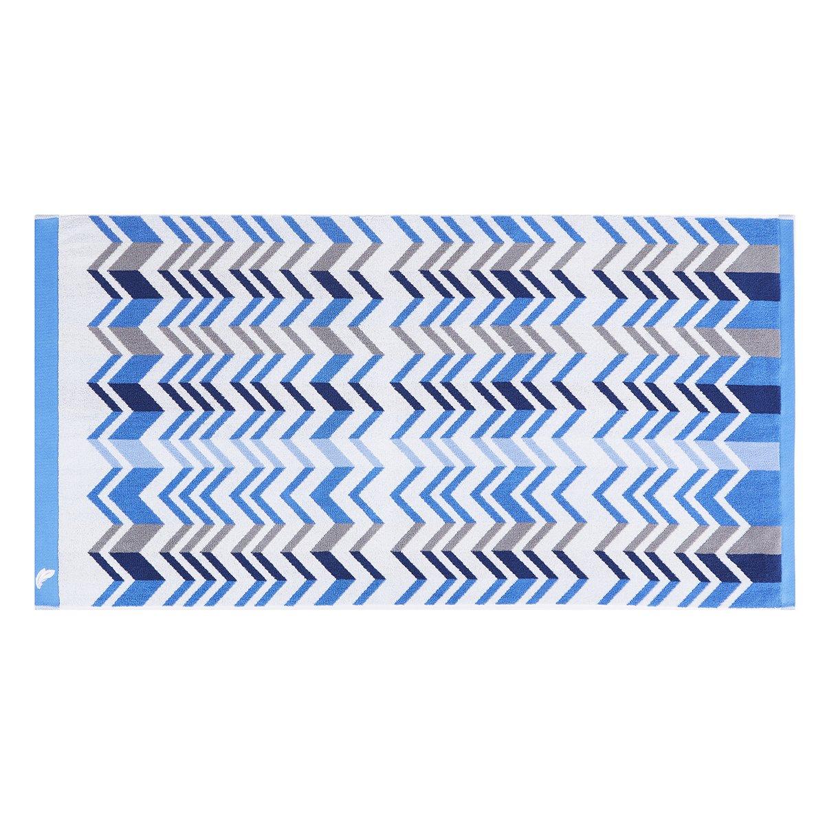 Drap de douche coton 70x140 cm bleu clair rayé