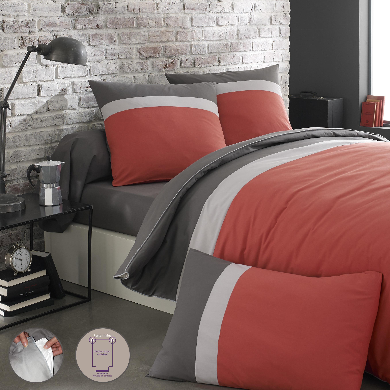 Parure de lit bicolore en coton rouge 200x200