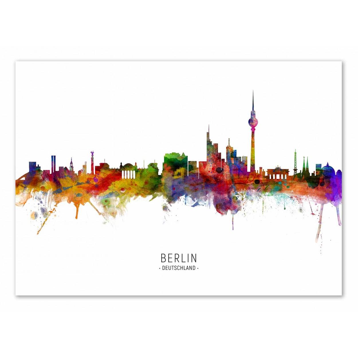 BERLIN GERMANY SKYLINE (COLORED VERSION) -   Affiche d'art 50 x 70 cm