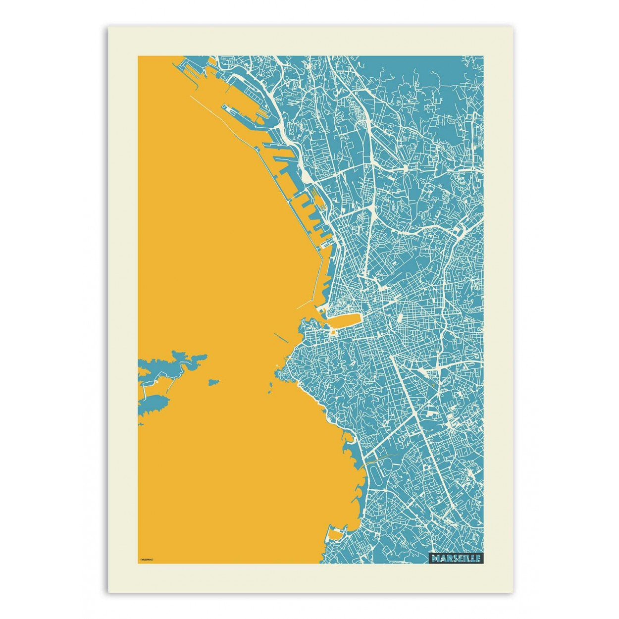 MARSEILLE YELLOW AND BLUE MAP - MUZUNGU -  Affiche d'art 50 x 70 cm