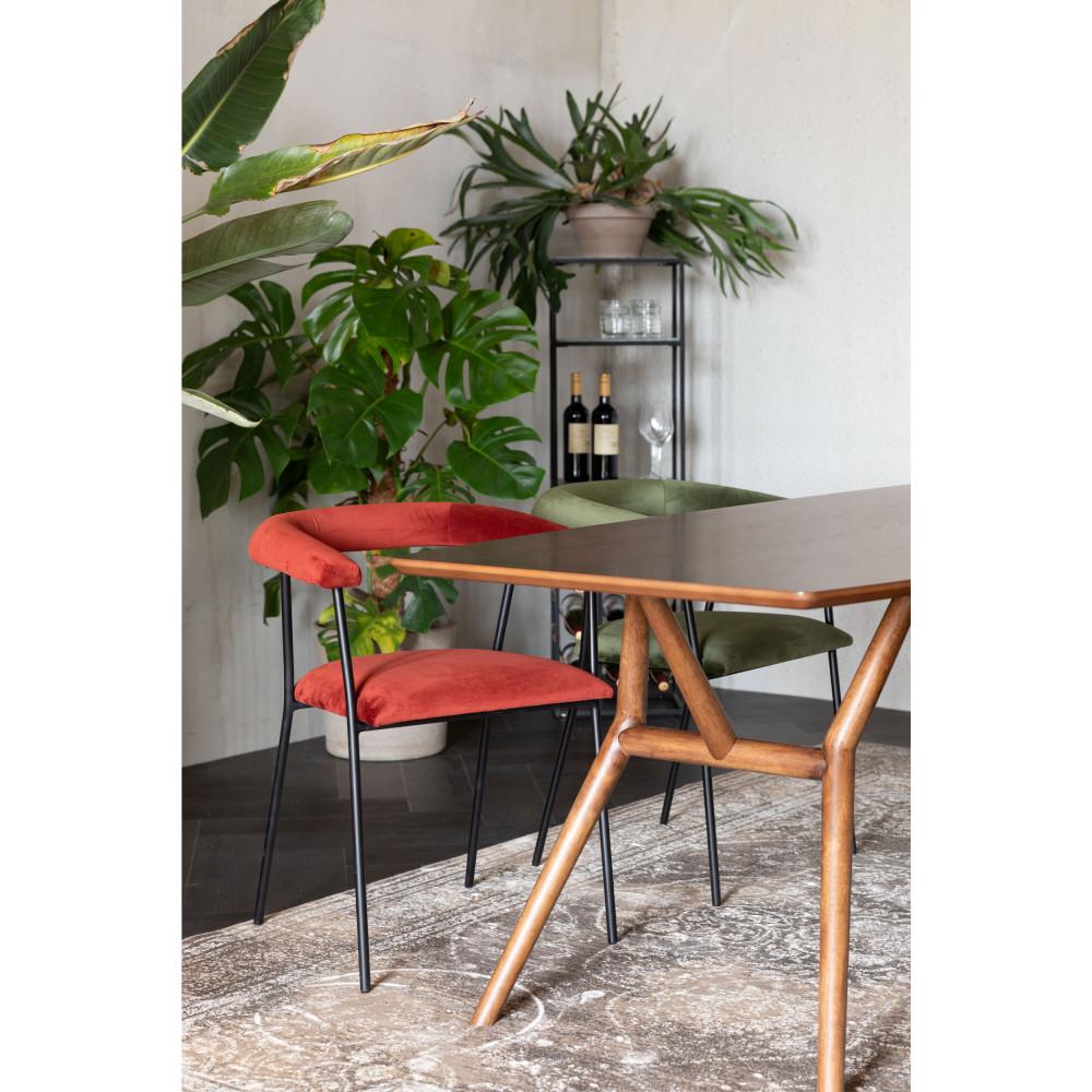 Fauteuil de table en velours rouge