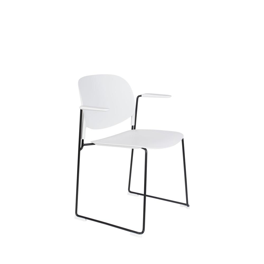 4 fauteuils de table en plastique blanc