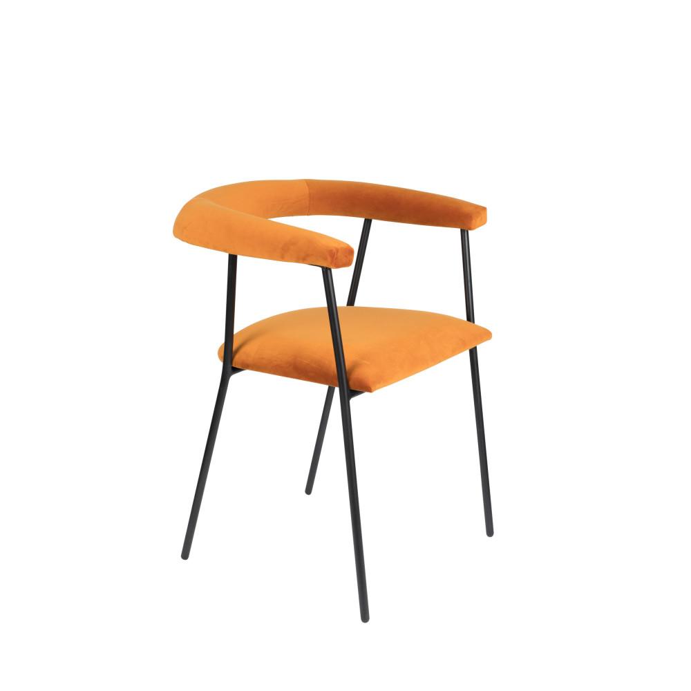 Fauteuil de table en velours orange