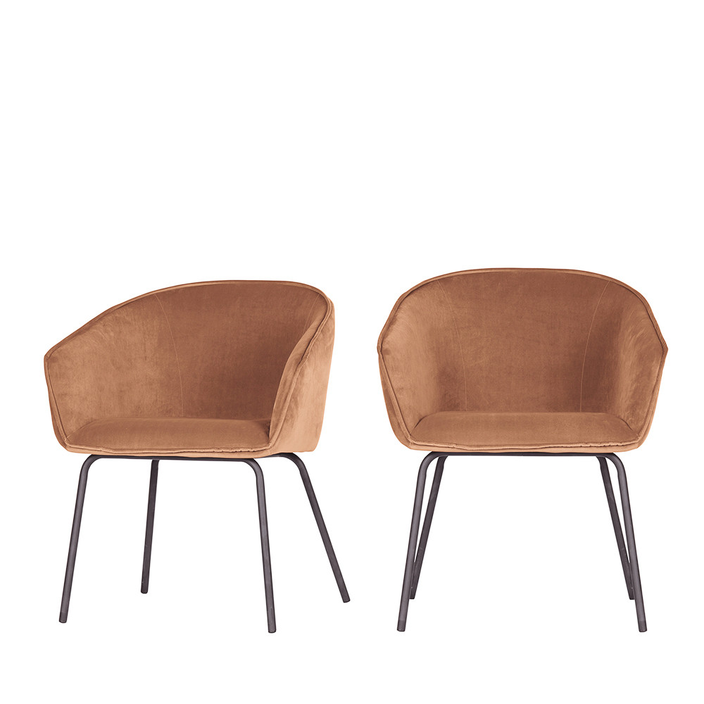 2 fauteuils de table en velours marron