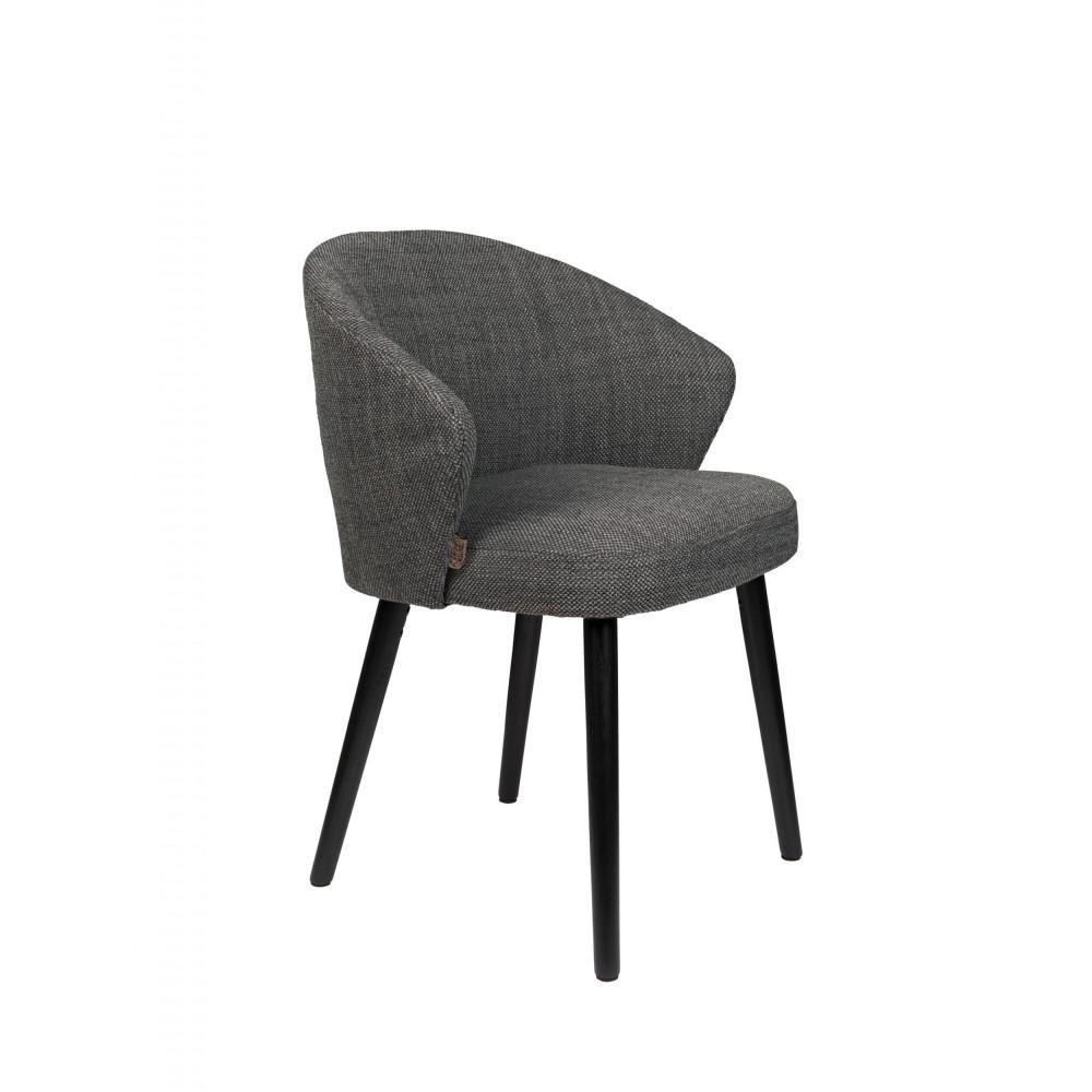 fauteuil de table en tissu gris anthracite