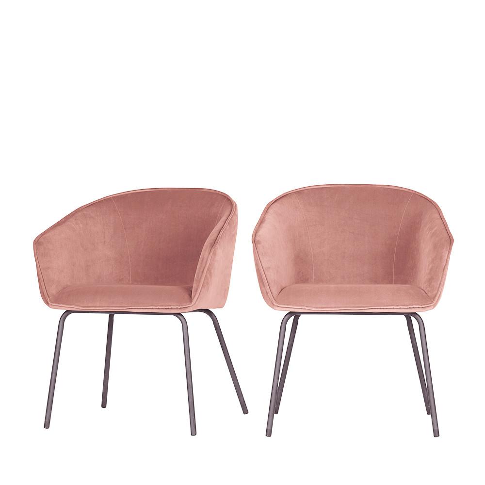 2 fauteuils de table en velours rouge brique