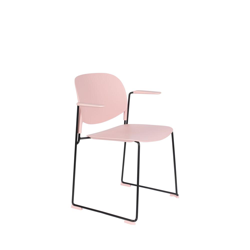 4 fauteuils de table en plastique rose pastel