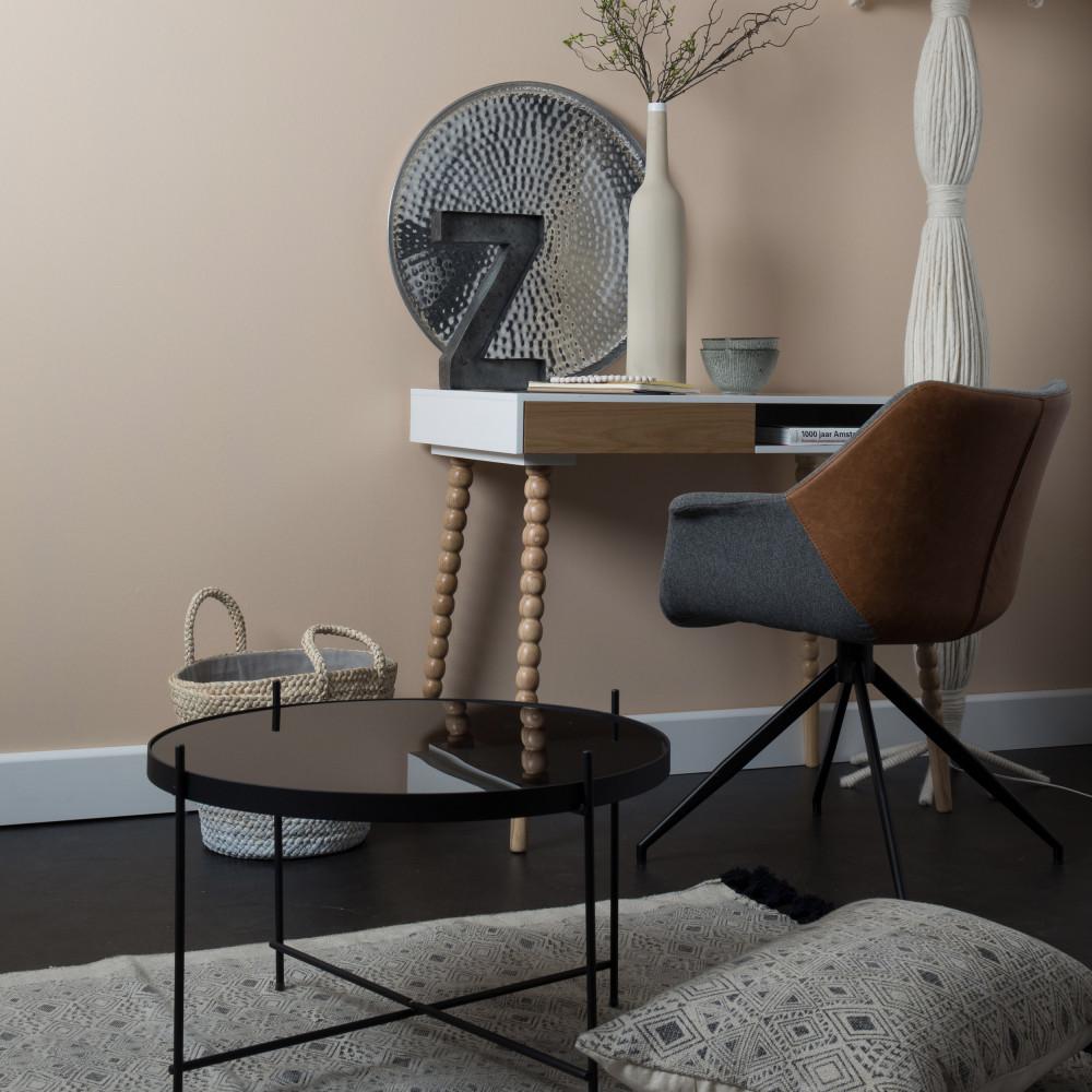 2 fauteuils de table en tissu et simili gris