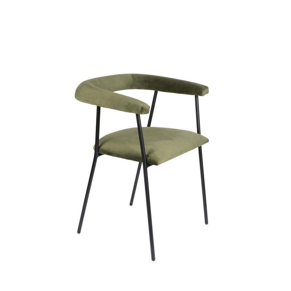 Fauteuil de table en velours vert kaki